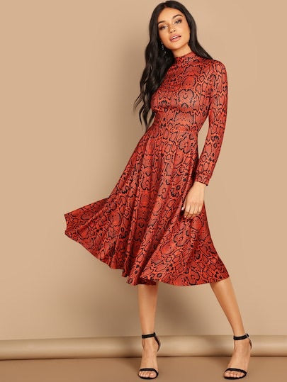 Mock-Neck Snakeskin Fit & Flare Dress