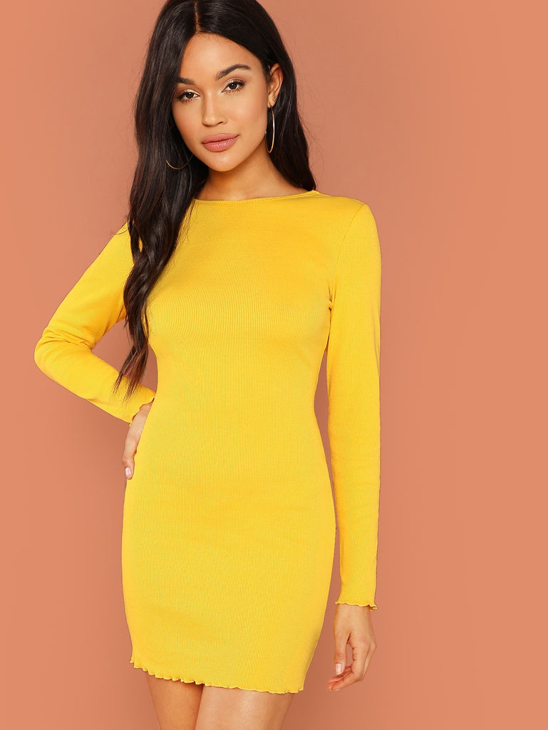 Rib Knit Fitted Dress