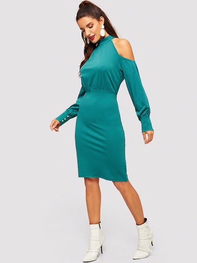 Open Shoulder Mock-Neck Bodycon Dress