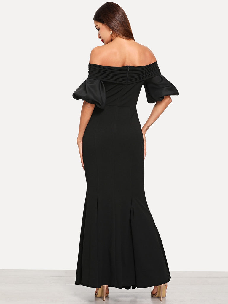 Cross Wrap Bardot Neck Fishtail Dress
