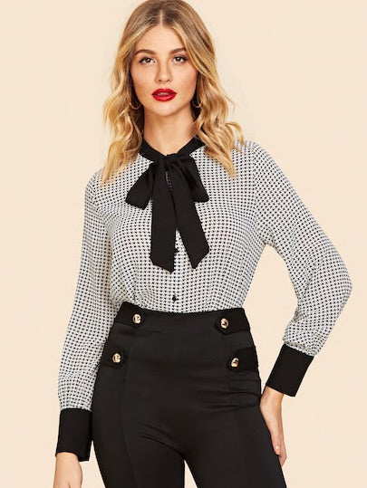 Tie-neck Houndstooth Print Blouse