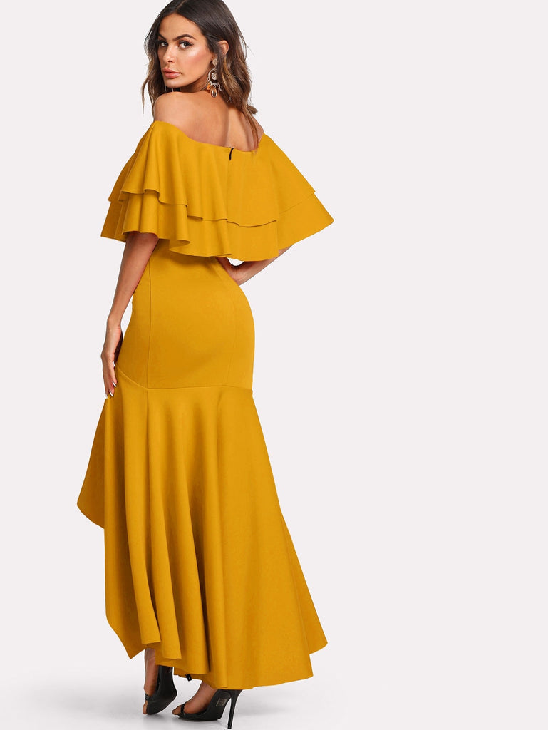 Layered Flounce Trim Asymmetrical Hem Bardot Dress