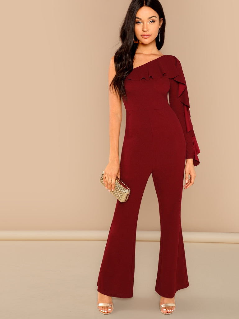 Flounce Embellished One Shoulder Tailored Jumpsuit