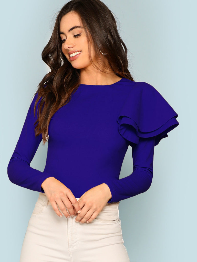 Zip Back Ruffle One Sleeve Tee