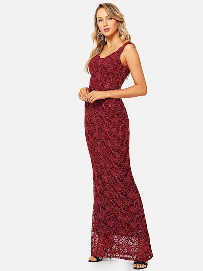 Lace Overlay Longline Dress