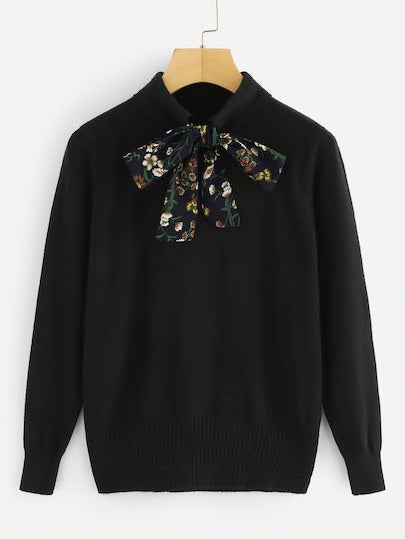 Tie Neck Floral Print Sweater