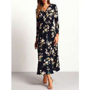 RZX Long Sleeve Floral Maxi Dress