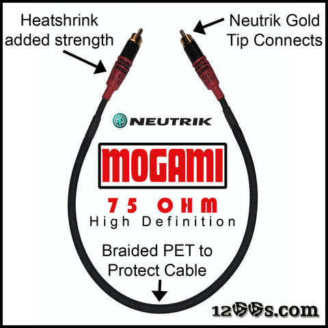 (RED) 75 OHM MOGAMI RCA / Phono Interconnect Cable with NEUTRIK Gold Tips & Braided PET
