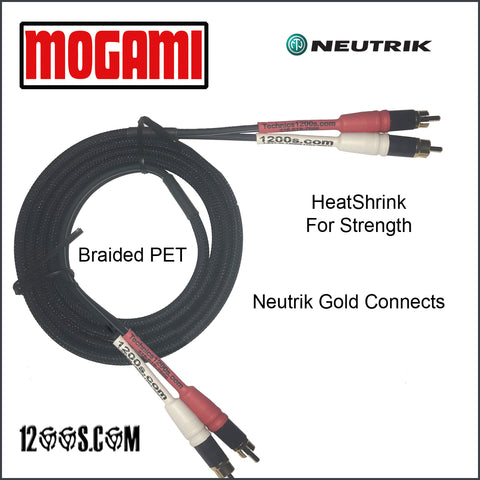MOGAMI RCA / Phono Interconnect Cable with NEUTRIK Gold Tips (Both Ends) & Braided PET