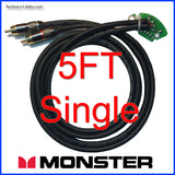 Pro DJ Black Performance RCA Cable - MONSTER CABLE Gold Connects & Internal Ground PCB