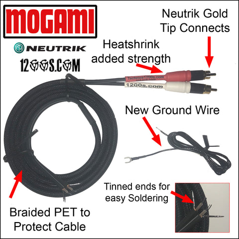 Universal MOGAMI RCA / Phono Cable with NEUTRIK Gold Tip Connects, Braided PET & Ground Wire