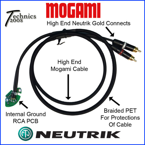 MOGAMI RCA / Phono Cable with NEUTRIK Gold Tip Connects & Internal Ground PCB