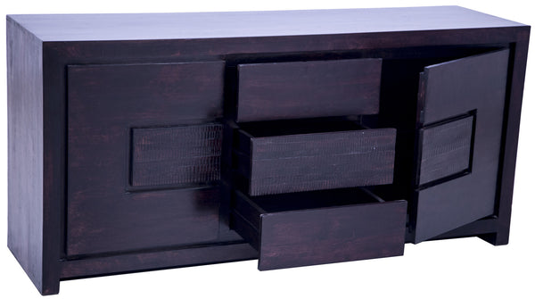 Drawers and door open in dark brown buffet