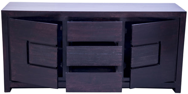 open drawers and door in dark brown buffet