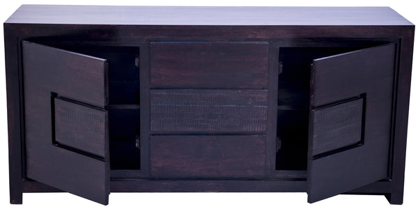 open doors in dark brown buffet