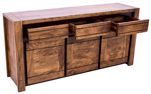 Diagonal view of Sweden Buffet with open drawers