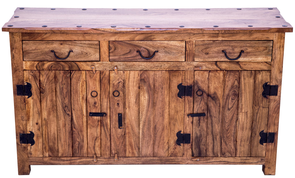 Front view of natural finish buffet