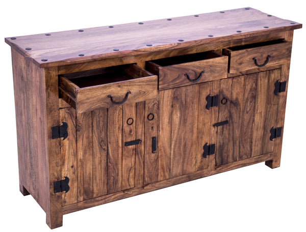 Diagonal view of Rustic Buffet Table with open drawers