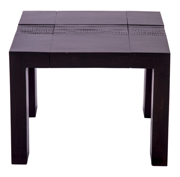 Front view of dark brown square coffee table