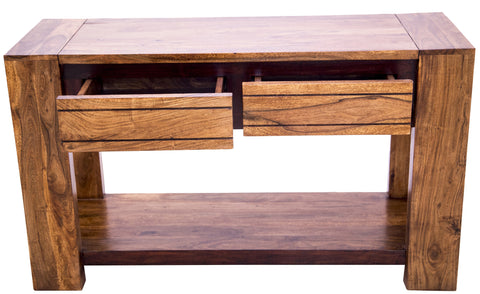 Front view of Sweden Console Table with open drawers