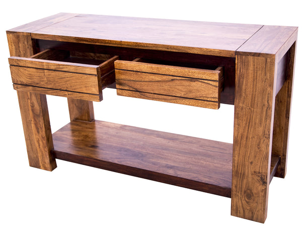 Diagonal view of Sweden Console Table with open drawers