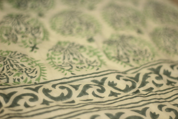 Close-up image of Green Grey Cotton Quilt