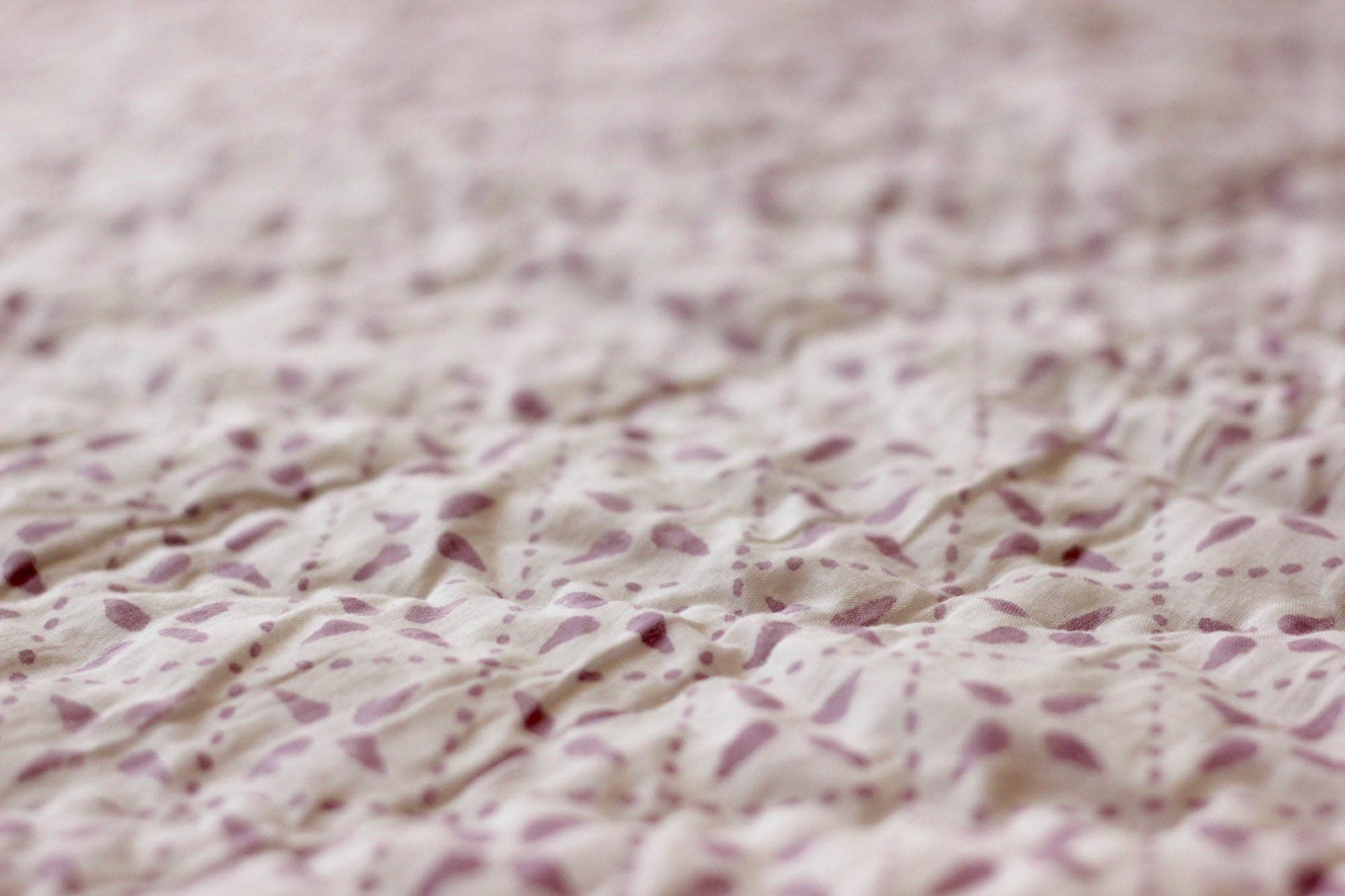 Close-up of Mauve Cotton Quilt