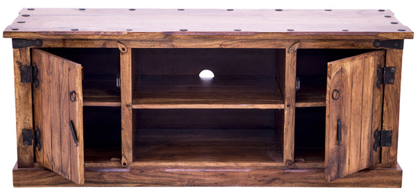 Front view of Rustic TV Unit with open doors