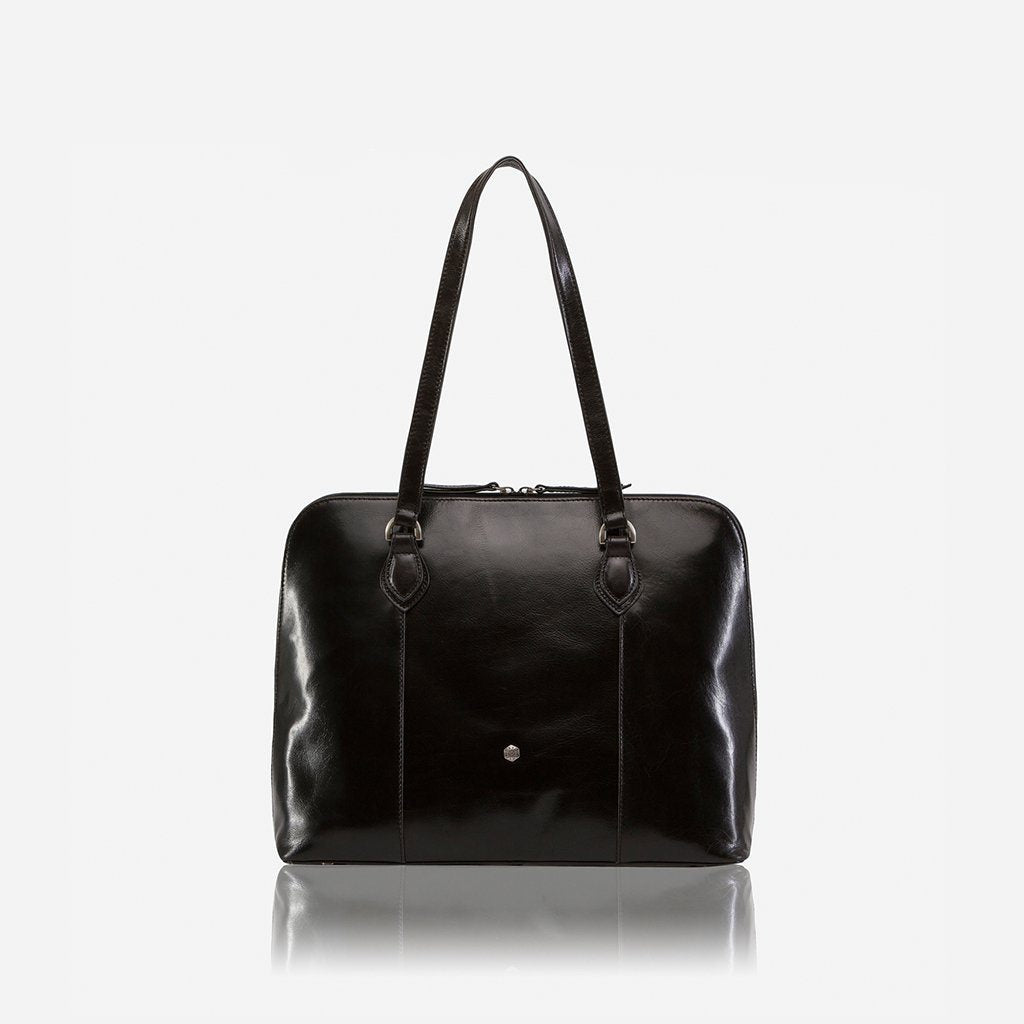 Medium Leather Laptop Handbag, Black