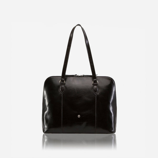Women's Sale - Medium Leather Laptop Handbag, Black
