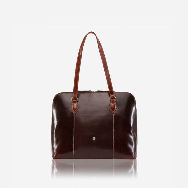 Women's Sale - Medium Leather Laptop Handbag, Tobacco