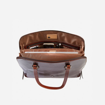 Medium Leather Laptop Handbag, Tobacco
