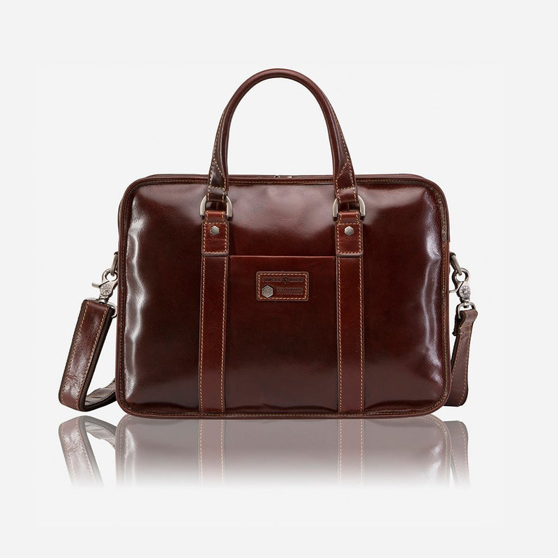 Large Double Compartment Briefcase, Tobacco