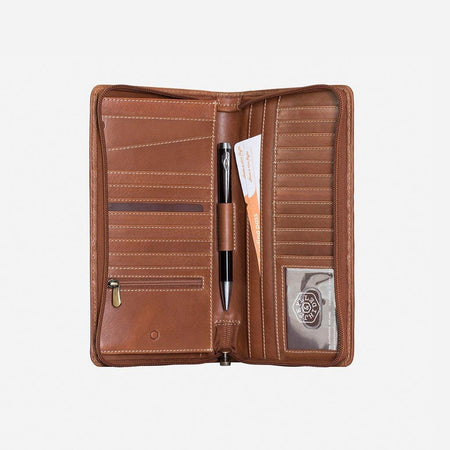 Large Zip-Around Travel And Passport Organiser, Clay