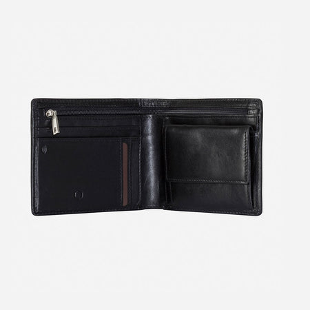 Medium Billfold Wallet With Coin, Black