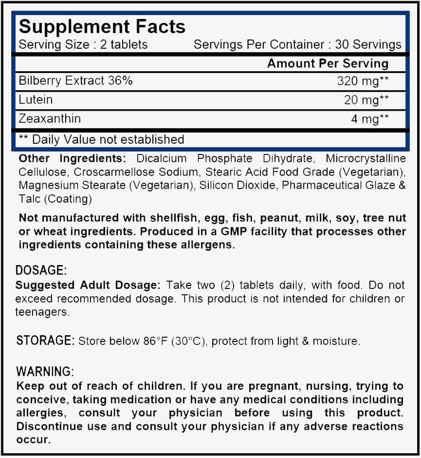 Oz Vitamins Better Eyes Supplement Facts - contains a high concentration of combined vision benefiting ingredients comprising of Bilberry (36% Anthocyanidins) (Vaccinium myrtillus) 320mg, Lutein 20mg and Zeaxanthin 4mg daily dose in a one month supply.