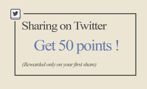 Sharing on Twitter - Get 50 points! - Rewarded only on your first share