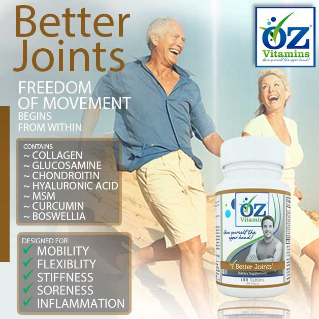 Oz Vitamins Better Joints is the best vitamin for joints helping mobility, stiffness, flexibility, soreness and inflammation to improve movement in all ages.