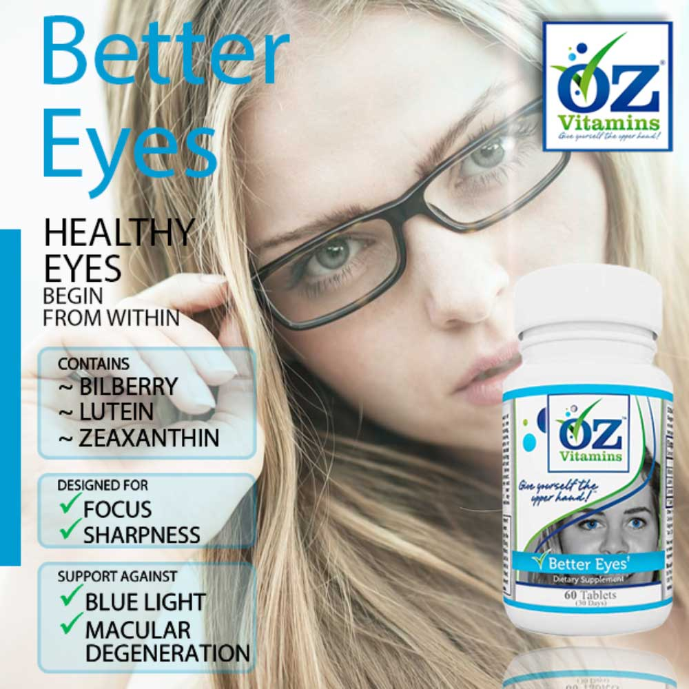 Oz Vitamins Better Eyes is the best value vitamin for healthy eyes designed for focus and sharpness and supporting against blue light and macular degeneration.