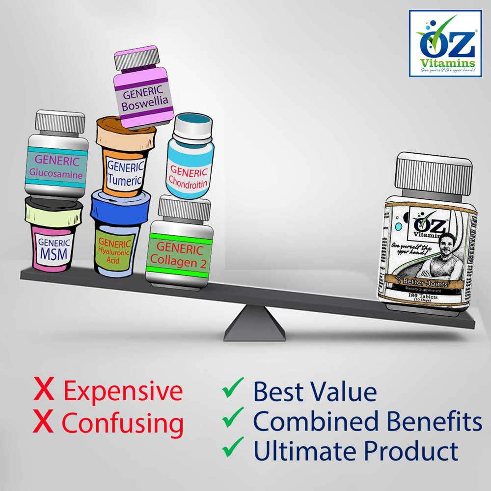 Oz Vitamins Better Joints is the best value ultimate product with combined benefits.