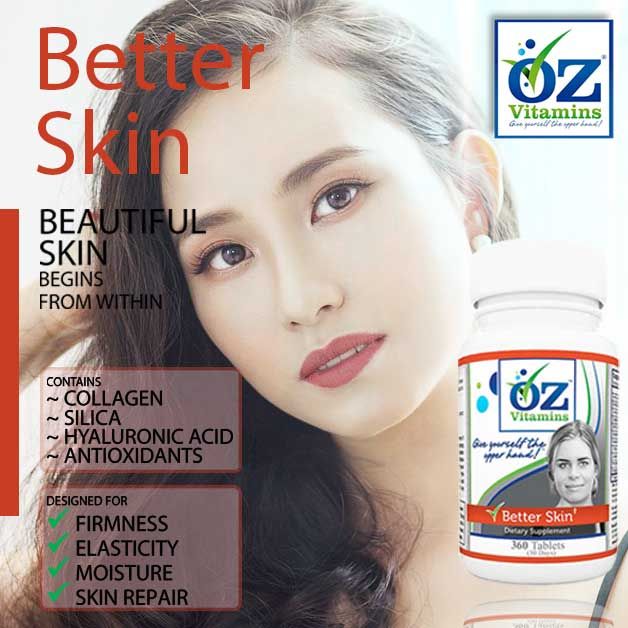 Oz Vitamins Better Skin is the best vitamin for beautiful skin to help skin firmness, moisture, elasticity and skin repair using collagen, silica, hyaluronic acid and many antioxidants.