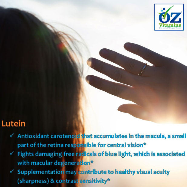 Oz Vitamins Better Eyes Lutein 20mg/day is an antioxidant carotenoid that accumulates in the macula, a small part of the retina responsible for central vision. Lutein fights damaging free radicals of blue light, which is associated with macular degeneration. Supplementation may contribute to healthy visual acuity (sharpness) & contrast sensitivity.