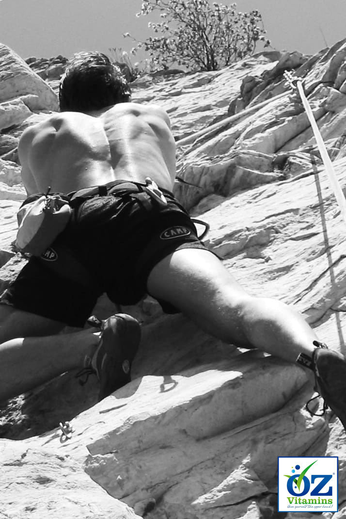 Rockclimbing demonstrates joint mobility and functionality in an active lifestyle, which can benefit from Oz Vitamins Better Joints.