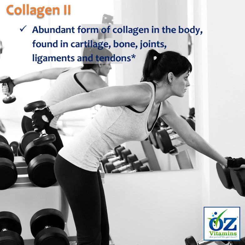 Oz Vitamins Better Joints contains Collagen II 2000mg/day which is an abundant form of collagen in the body, found in cartilage, bone, joints, ligaments and tendons.