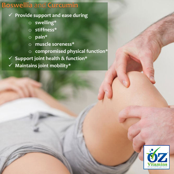 Oz Vitamins Better Joints contains Boswellia 1000mg/day and Curcumin 1500mg/day which provide support and ease during swelling, stiffness, pain, muscle soreness and compromised physical function. They support joint health, joint function and maintain joint mobility.