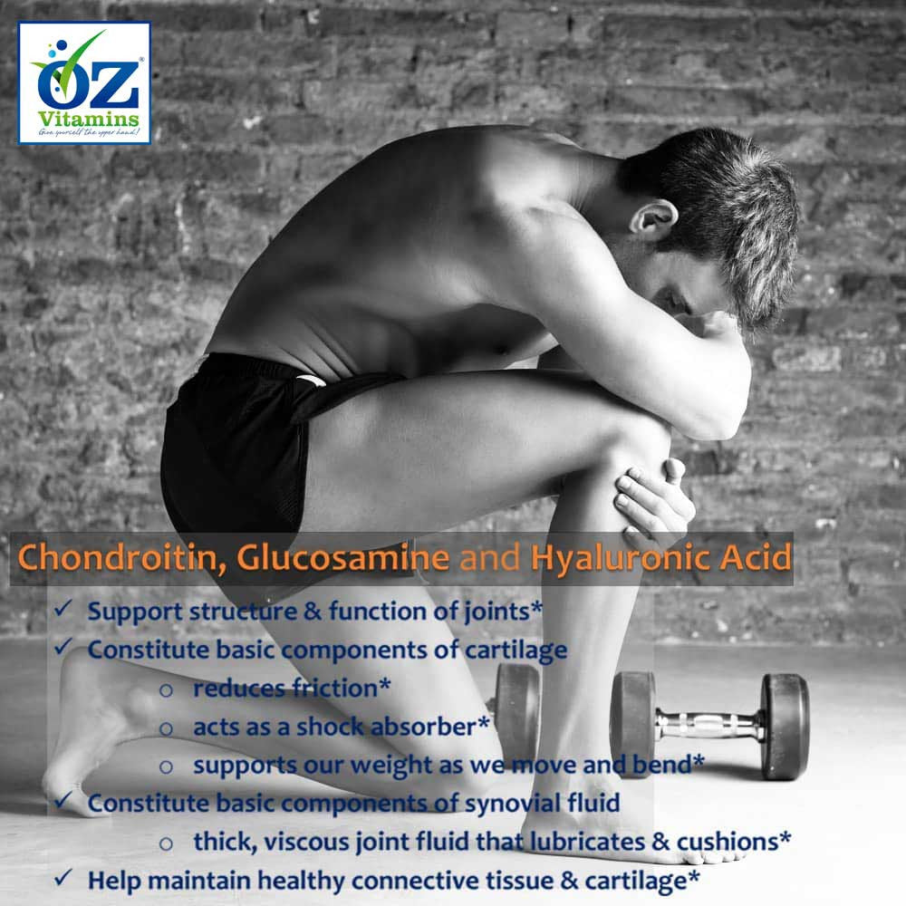 Oz Vitamins Better Joints contains Chondroitin 1200mg/day, Glucosamine 1500mg/day and Hyaluronic Acid 200mg/day to support the structure and function of joints. They constitute the basic components of cartilage, which reduces friction, acts as a shock absorber, and supports our weight as we move and bend. They also constitute the basic components of synovial fluid, which is a thick, viscous joint fluid that lubricates & cushions. Together they help maintain healthy connective tissue & cartilage.