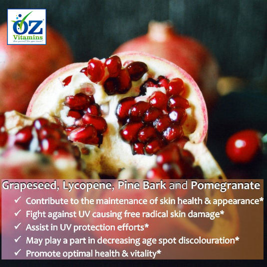 Oz Vitamins Better Skin contains Grapeseed Extract 180mg/day, Lycopene 15mg/day, Pine Bark Extract 180mg/day and Pomegranate Extract 300mg/day which contribute to the maintenance of skin health & appearance. The high strength Grapeseed, Lycopene, Pine Bark and Pomegranate are rich in antioxidants which fight against UV causing free radical skin damage. They assist in UV protection efforts and may play a part in decreasing age spot discolouration.  Oz Vitamins Better Skin ingredients promote optimal health &