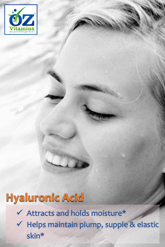 Oz Vitamins Better Skin contains Hyaluronic Acid 150mg/day which attracts and holds moisture. Hyaluronic acid helps maintain plump, supple & elastic skin.