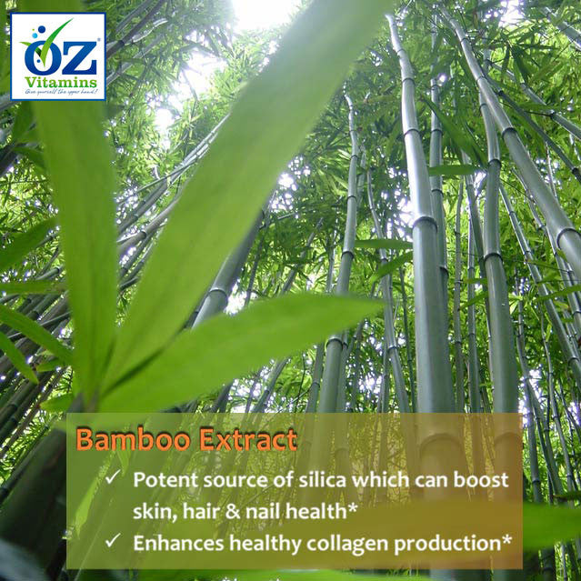 Oz Vitamins Better Skin contains Bamboo Extract 60mg/day, a potent source of silica which can boost skin, hair & nail health. Silica enhances healthy collagen production.