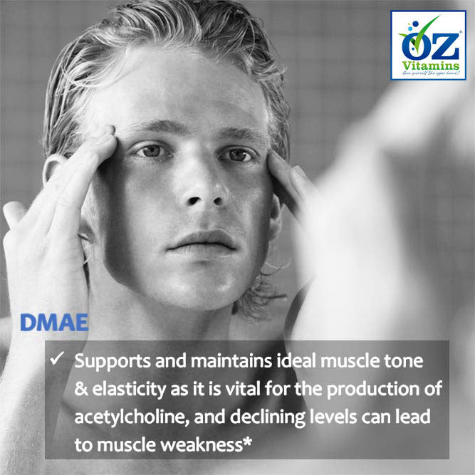 Oz Vitamins Better Skin contains DMAE 90mg/day which supports and maintains ideal muscle tone & elasticity as it is vital for the production of acetylcholine, and declining levels can lead to muscle weakness.